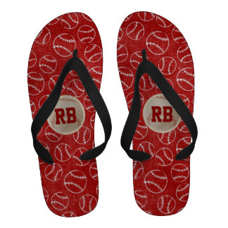 Personalised Red Baseball Pattern with Baseball Sandals