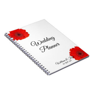 Personalised Red Gerbera Wedding Planner Notebook