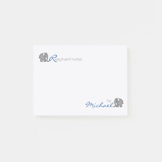 """Personalised """"RElephant Notes"""" Grey and Blue Post-it Notes"""
