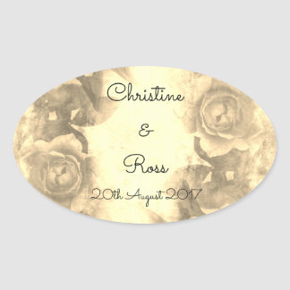 Personalised, retro Wedding Sticker with Roses