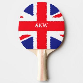 Personalised Rough edge Union Jack Ping Pong Paddle