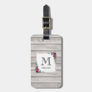 Personalised rustic light wood floral luggage tag