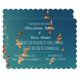 Personalised seaside wedding invitation
