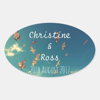 Personalised seaside wedding sticker