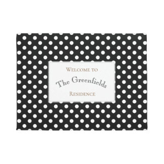 Personalised Shabby Chic Polka Dots Design Doormat