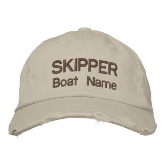 Personalised Skipper and Boat Name Hat Embroidered Hat