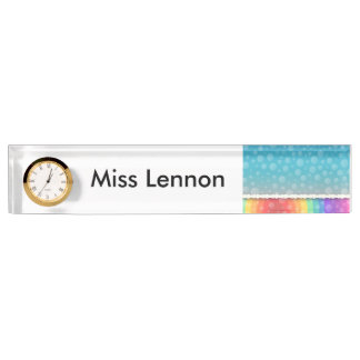 Personalised Teacher Desk Nameplate with Clock