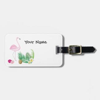Personalised Tropical Flamingo Luggage Tag