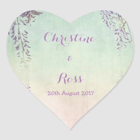 Personalised vintage floral wedding sticker