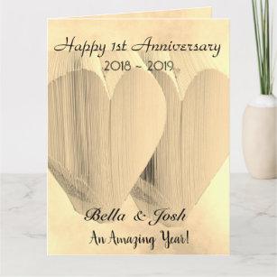 Personalised Vintage Paper 1st Wedding Anniversary Card