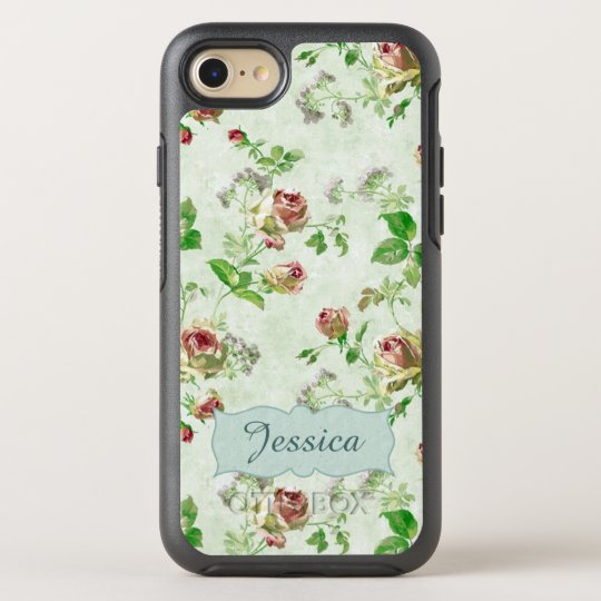 Personalised Vintage Pink and Green Roses Pattern OtterBox Symmetry iPhone 8/7 Case