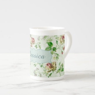 Personalised Vintage Pink Roses Pattern Tea Cup