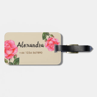 Personalised Watercolor Pink Roses Floral Art Luggage Tag