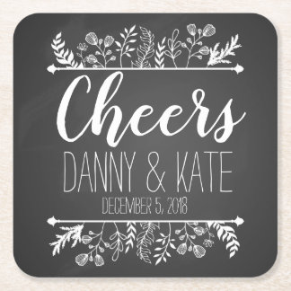 personalised wedding day drinks coaster Thank you
