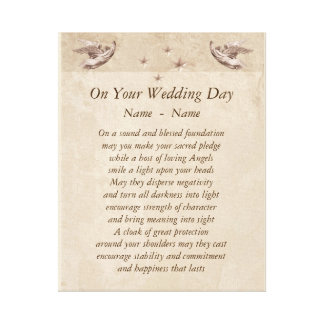 Personalised Wedding Day poem canvas art.