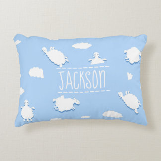 Personalised Whimsical Clouds and Sheep Pattern Accent Pillow