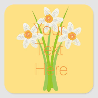 Personalised  White Daffodils Gardener Florist Square Sticker