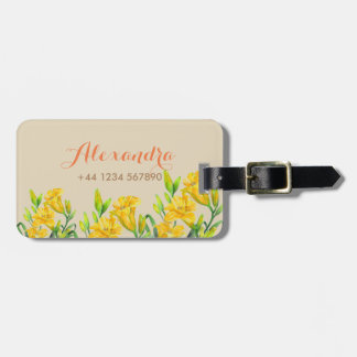 Personalised Yellow Day Lilies Luggage Tag