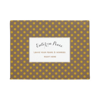 Personalised Yellow Ochre Brown Polka Dots Doormat