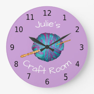 Personalised your name, craft room, crochet large clock