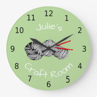 Personalised your name, craft room, crochet wall clocks