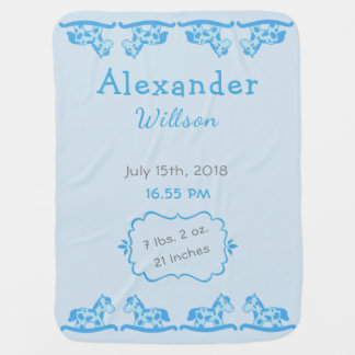 Personalizable Baby Birth Stats Blue Rocking Horse Baby Blanket