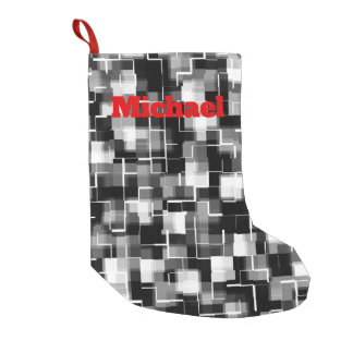 Personalizable Black White Gray Camo Pattern Small Christmas Stocking