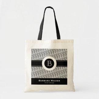 personalizable black/white music monogram tote bag
