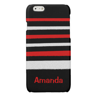 Personalizable Black White Red Stripes Cool Simple
