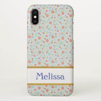 Personalizable Blue Floral Vintage iPhone X Case