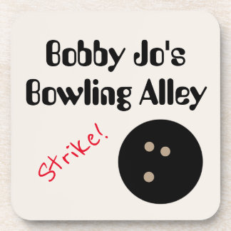 """Personalizable Bowling Alley """"Strike!"""" with Ball Drink Coasters"""