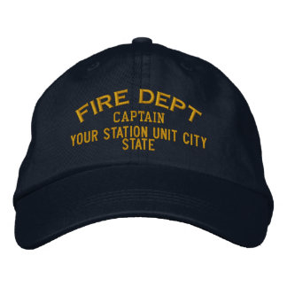 Personalizable Captain Firefighter Hat Embroidered Baseball Cap