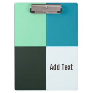 Personalizable Coal Ivory Teal Blue Turquoise Clipboard