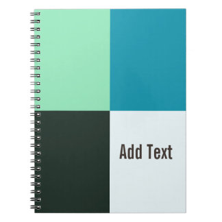Personalizable Coal Ivory Teal Blue Turquoise Notebook