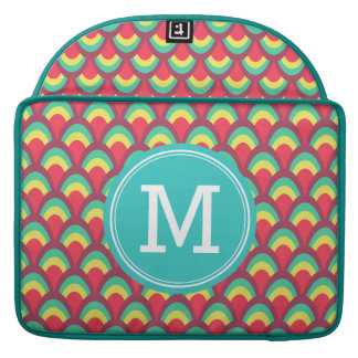 Personalizable Colorful Geometric Pattern Monogram MacBook Pro Sleeves