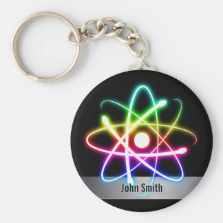 Personalizable Colourful Glowing Atom Keychain