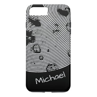 Personalizable Cool Black/White Circled Pattern iPhone 7 Plus Case