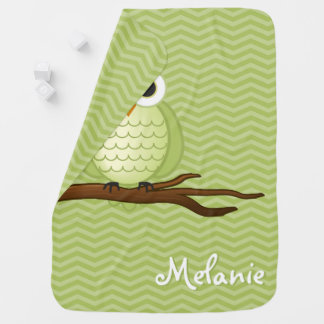 Personalizable Cute Owl Baby Blanket