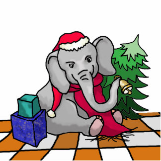 Personalizable Cute Santa Elephant in the Snow Photo Sculpture Magnet
