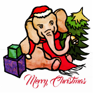 Personalizable Cute Santa Elephant in the Snow Photo Sculpture Ornament