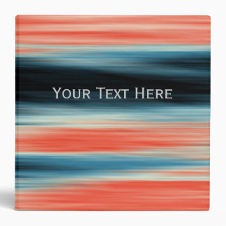Personalizable Cute Trendy Orange Red Blue Stripes 3 Ring Binder