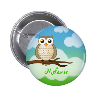 Personalizable Cute Wise Owl   Button