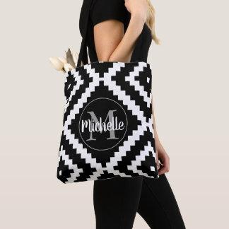 Personalizable ethnic black monogram tote bag