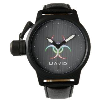 Personalizable Glow Biohazard Symbol | Cool Wristwatch