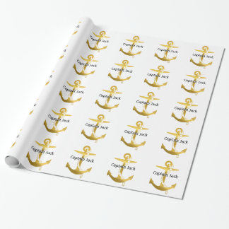 Personalizable Golden Nautical Anchor Wrapping Paper