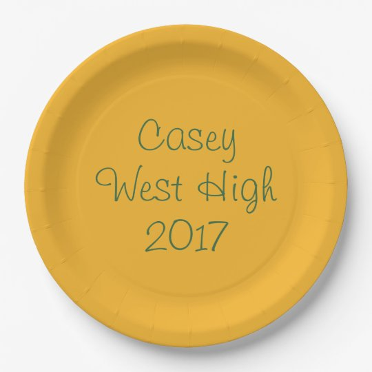 Personalizable Graduation Plate in Green & Gold 9 Inch Paper Plate