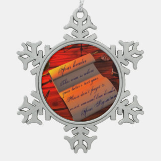 Personalizable Handwritten Letter Snowflake Pewter Christmas Ornament