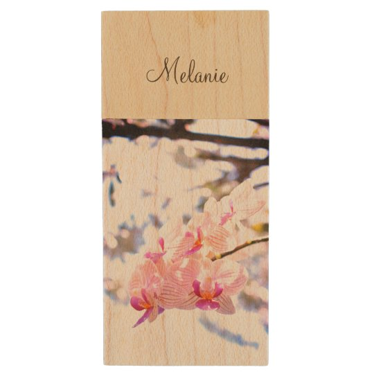 Personalizable Hybrid Orchid USB Drive in wood Wood USB 2.0 Flash Drive