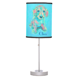 personalizable lamp-aqua and peach dachshund table lamp