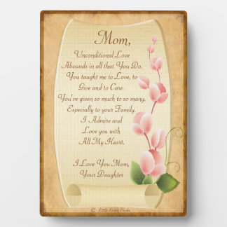 Personalizable Love Letter to Mom from Daughter Plaque